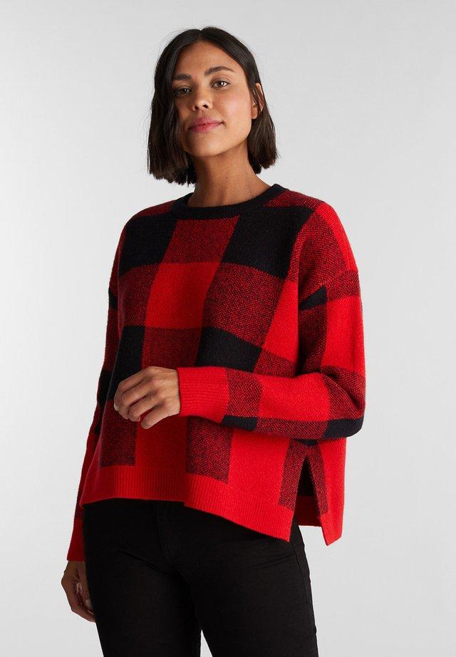 MIT JACQUARD-KARO - Pullover - red