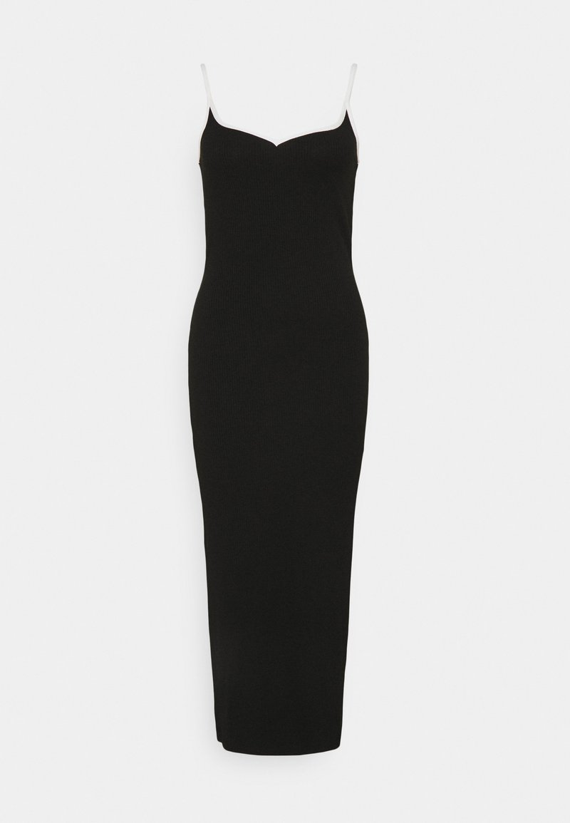 Vero Moda Tall - VMNANA SINGLET CALF DRESS VIP - Strikket kjole - black/white