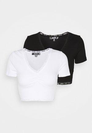 TRIM CROP 2 PACK - Basic T-shirt - black/white