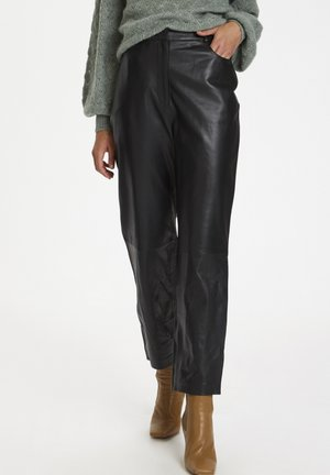 SLPATRICIA - Leather trousers - black