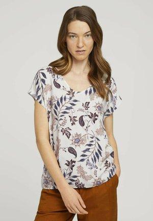 FABRIC MIX V-NECK - Print T-shirt - white floral design