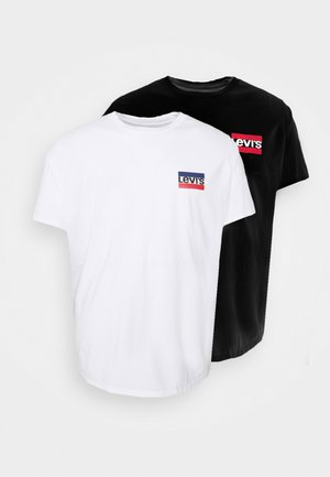 BIG GRAPHIC TEE 2 PACK - Print T-shirt - caviar/white