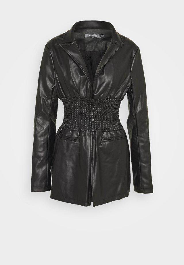 SHIRRED WAIST  - Blazer - black