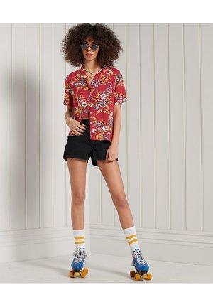 Button-down blouse - red hawaiian