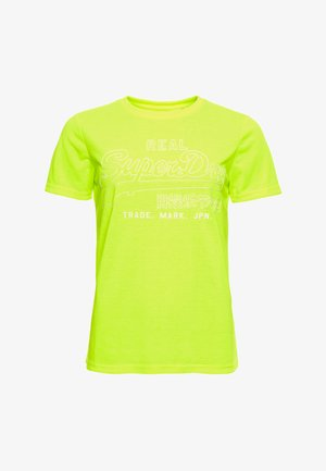 OUTLINE POP ENTRY TEE - Print T-shirt - neon yellow