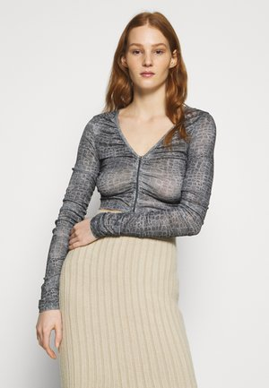RUCH ZIP FRONT - Long sleeved top - grey