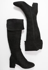 Simply Be - WIDE FIT FELICITY FOLD DOWN KNEE HIGH BOOT - Overknees - black - 3