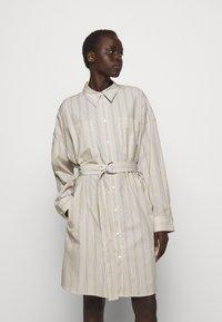 3.1 Phillip Lim - STRIPED BUTTON UP SHIRT DRESS - Shirt dress - tan - 0