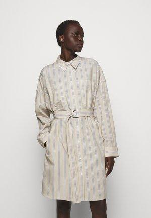 STRIPED BUTTON UP SHIRT DRESS - Shirt dress - tan