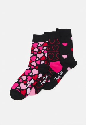 HEARTS 3 PACK - Socks - black