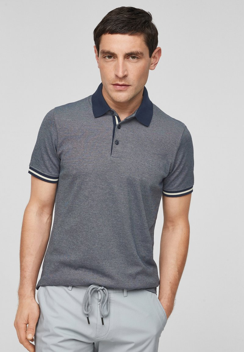 s.Oliver BLACK LABEL - MET GESTREEPTE BOORDJES - Polo shirt - dark blue melange