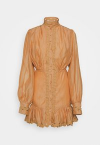 Missguided - PREMIUM BALLOON SLEEVE FRILL HEM MINI - Day dress - beige - 4