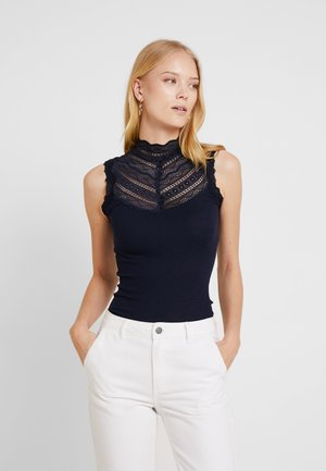 SILK-MIX TOP REGULAR W/WIDE LACE - Top - navy