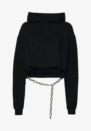 BLACK HOODIE WITH CHAINBELT - Mikina s kapucí - black
