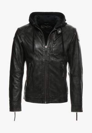 Leather jacket - dark olive