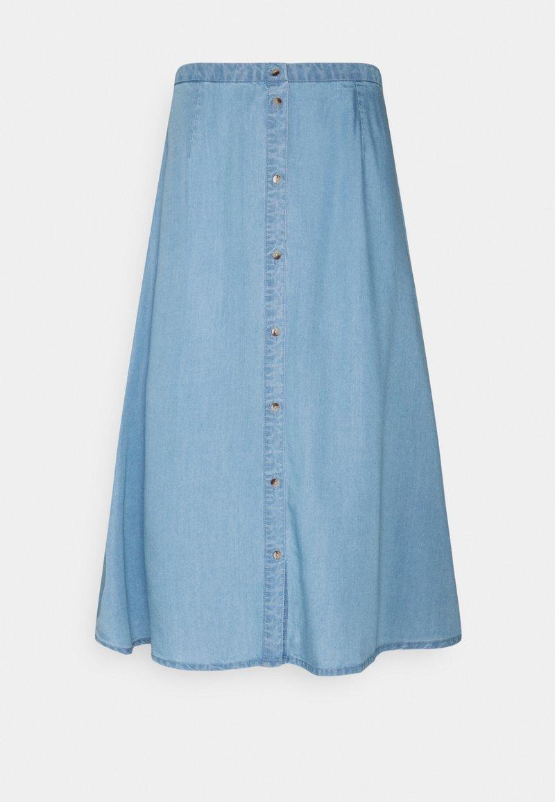 Vero Moda Tall - VMVIVIANA CALF SKIRT - A-line skirt - light blue denim