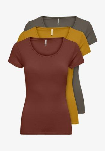 PACK OF 3 - Basic T-shirt - burnt/kala/gold