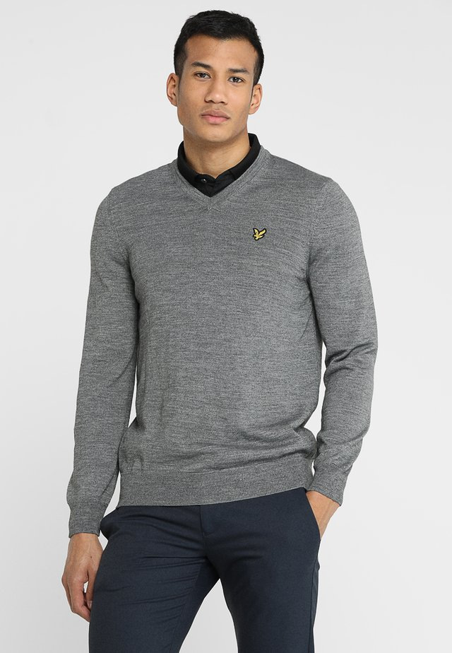 GOLF V NECK - Neule - mid grey marl