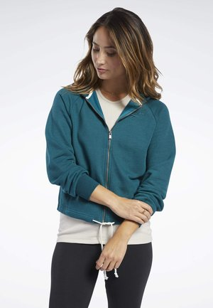 TRAINING ESSENTIALS LOGO HOODIE - Bluza rozpinana - heritage teal