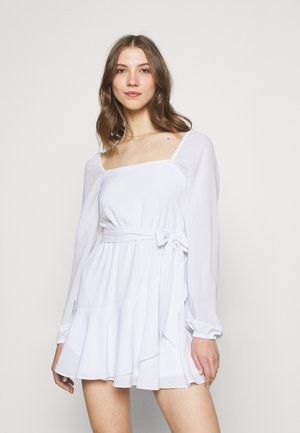 PAMELA REIF X ZALANDO OVERLAPPED FRILL MINI DRESS - Korte jurk - white