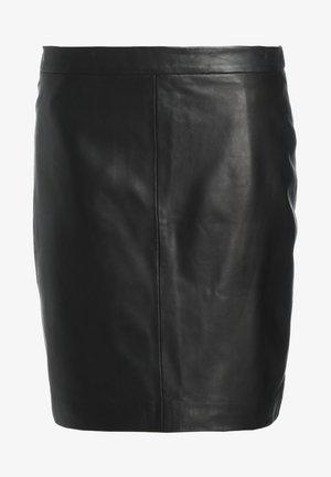 BERRY  - Leather skirt - black