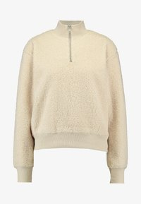 Topshop - CURLY ZIP UP FUNNEL - Stickad tröja - stone - 3