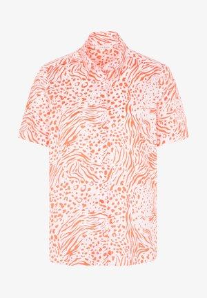 Button-down blouse - orange/weiss