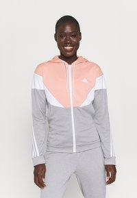adidas Performance - COLORBLOCK - Tracksuit - ambient blush/medium grey heather/white - 0