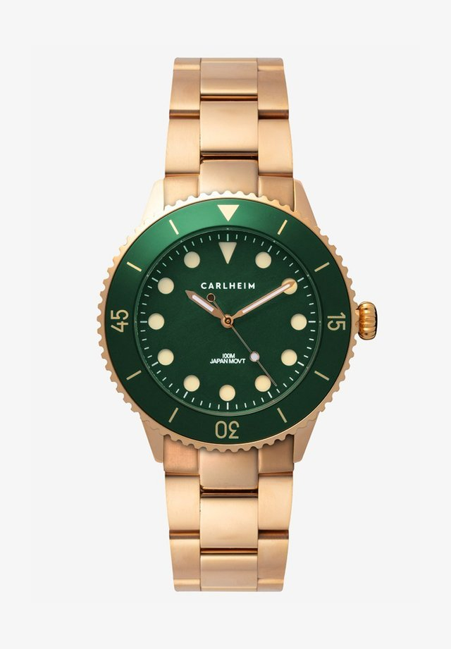 DIVER 40MM LINK - Ure - rose gold-green