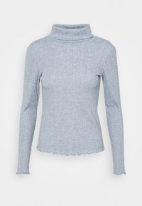 BRUSHED LETTUCE EDGE - Long sleeved top - blue