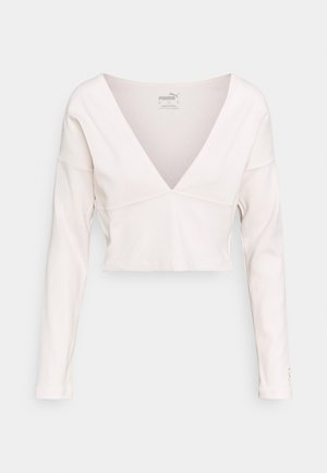 EXHALE V FRONT LONG SLEEVE - Long sleeved top - pastel parchment