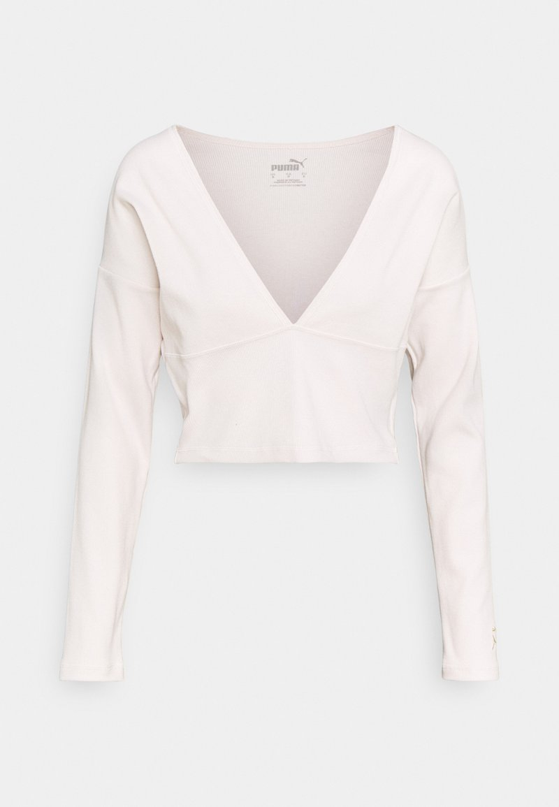 Puma - EXHALE V FRONT LONG SLEEVE - Long sleeved top - pastel parchment