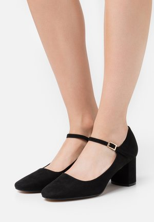 WIDE FIT DERRY COURT - Tacones - black