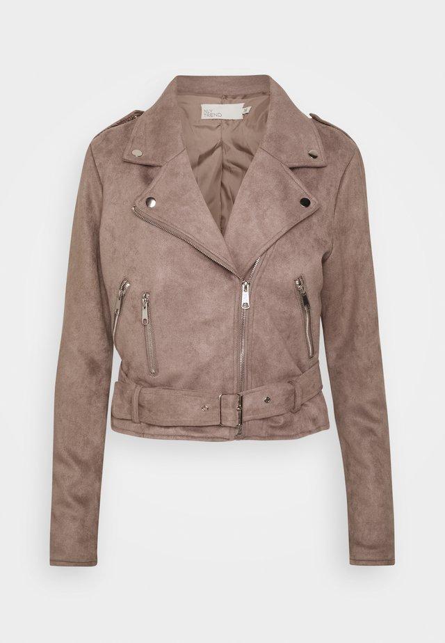 BIKER JACKET - Faux leather jacket - brown