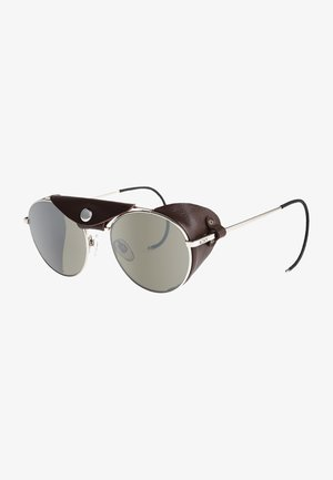 Sunglasses - shiny silver brown leather fla