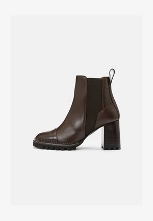 MALLORY - High heeled ankle boots - dark brown