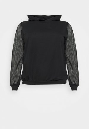 DROP SHOULDER SLEEVE HOODIE - Sweatshirt - black