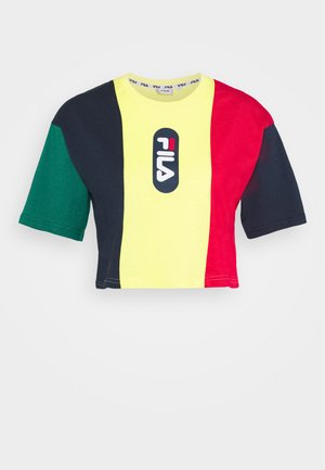 BASMA BLOCKED CROPPED TEE - Print T-shirt - black iris/true red/teal green aurora