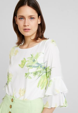 Blouse - ivory/lime