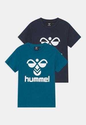 TRE DOUBLE 2 PACK UNISEX - Print T-shirt - navy /blue saphire