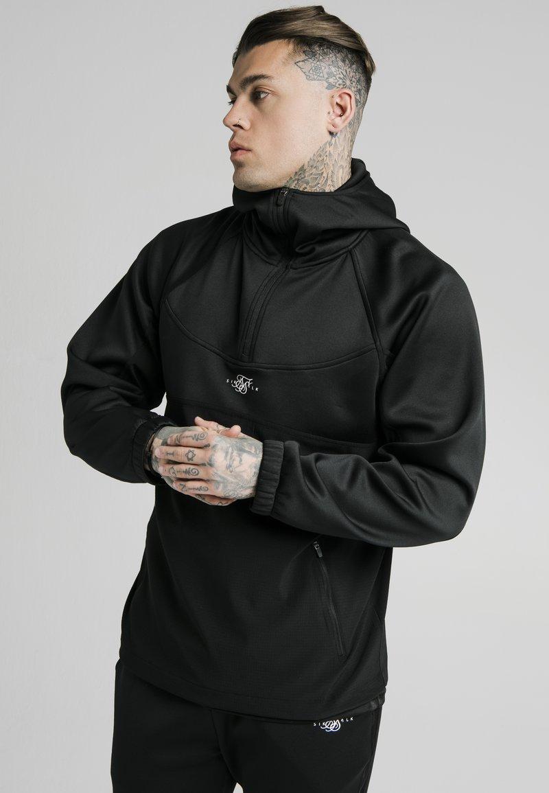 SIKSILK - TRANQUIL QUARTER ZIP - Camiseta de manga larga - black