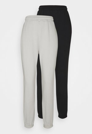 2er PACK - Loose fit joggers - Träningsbyxor - black/light grey