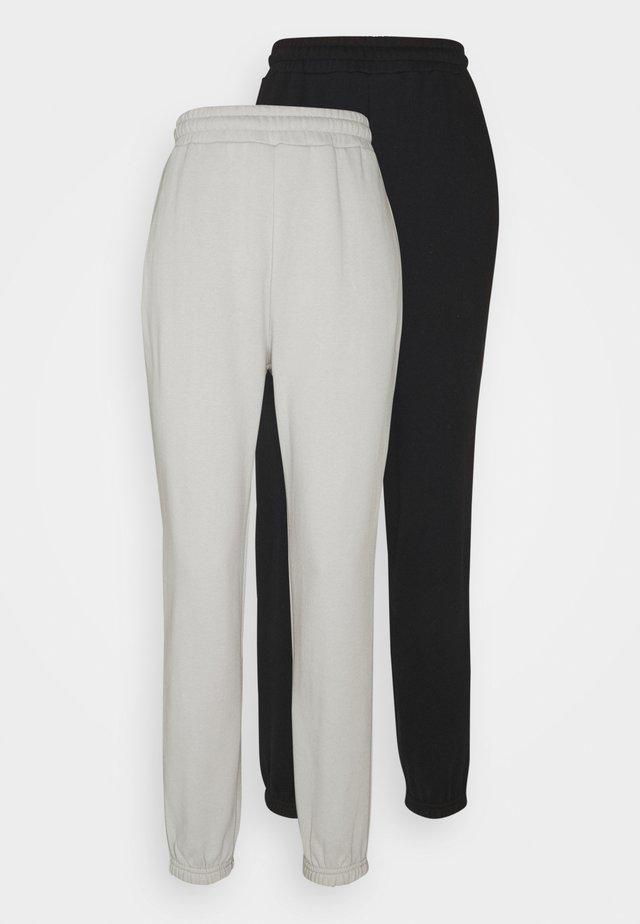 2er PACK - Loose fit joggers - Tracksuit bottoms - black/light grey