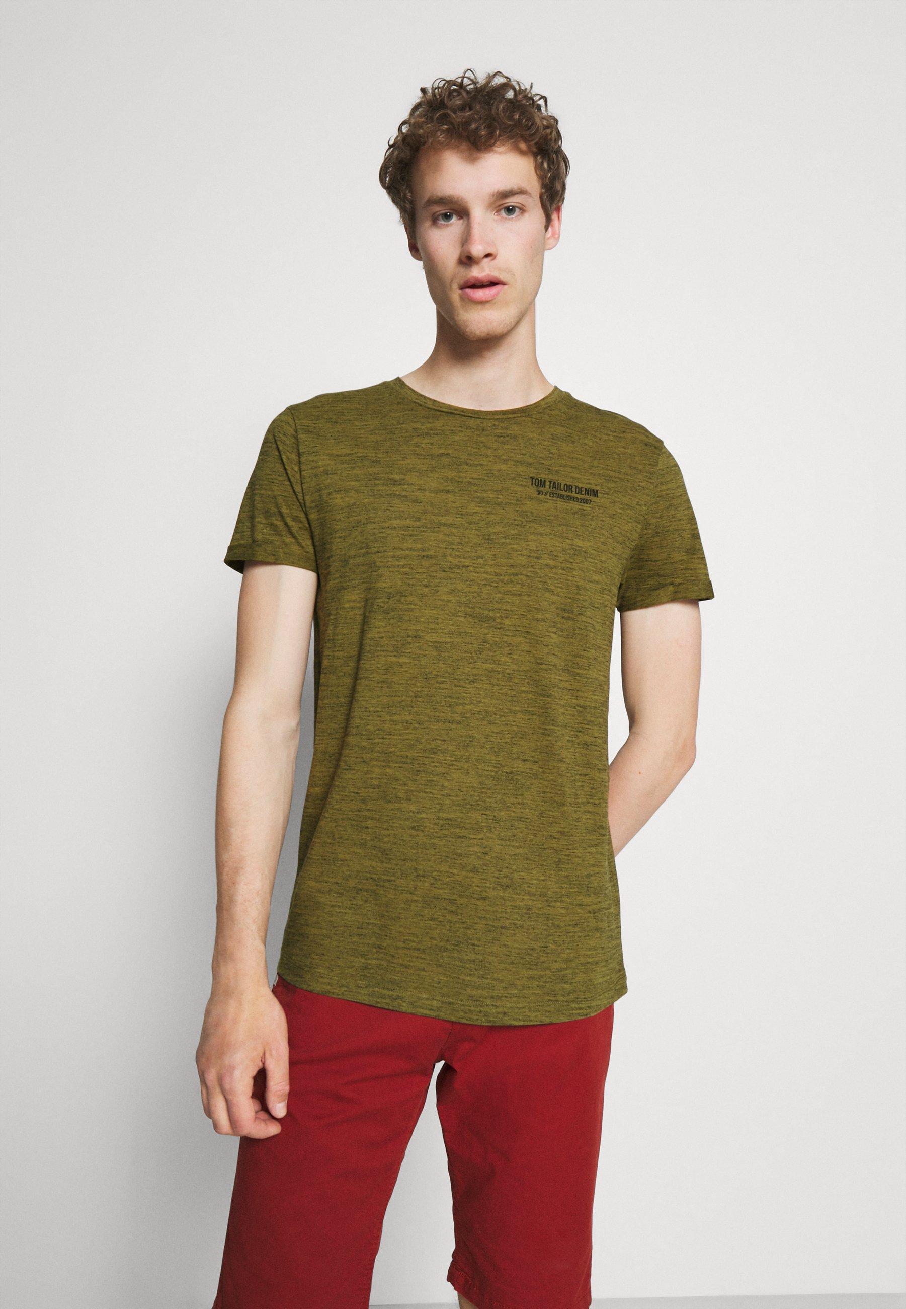 Men Print T-shirt - faded moss green melange
