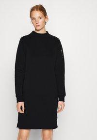 Calvin Klein - FUNNEL NECK LOGO DRESS - Shift dress - black - 2