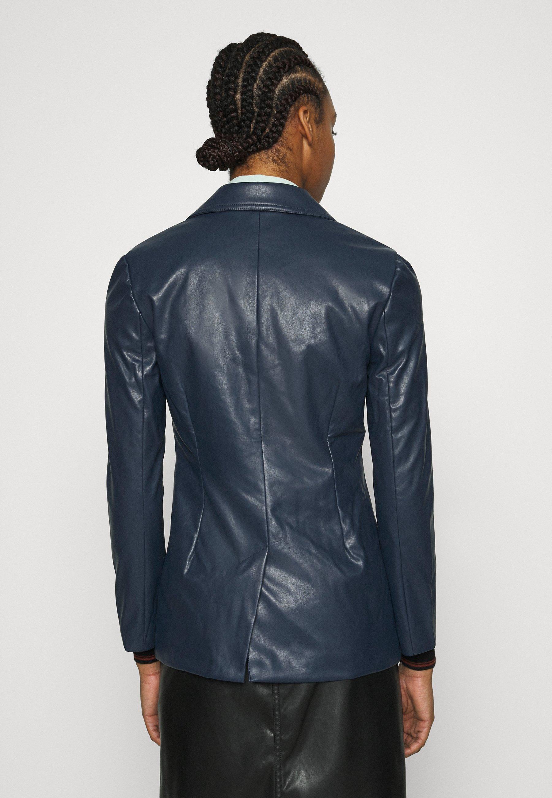 Who What Wear 70S FITTED JACKET Kunstlederjacke dark navy/blau