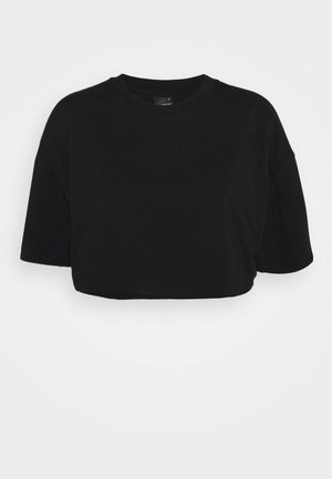 ZACHA CROPPED TEE - Jednoduché triko - black