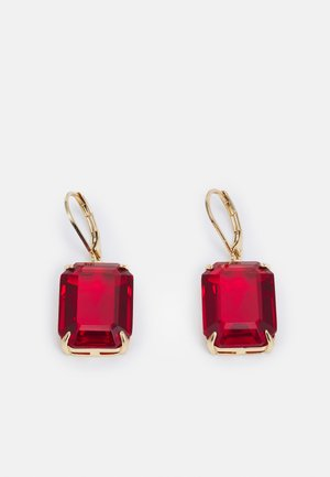 STONE DROP - Earrings - gold-coloured/red
