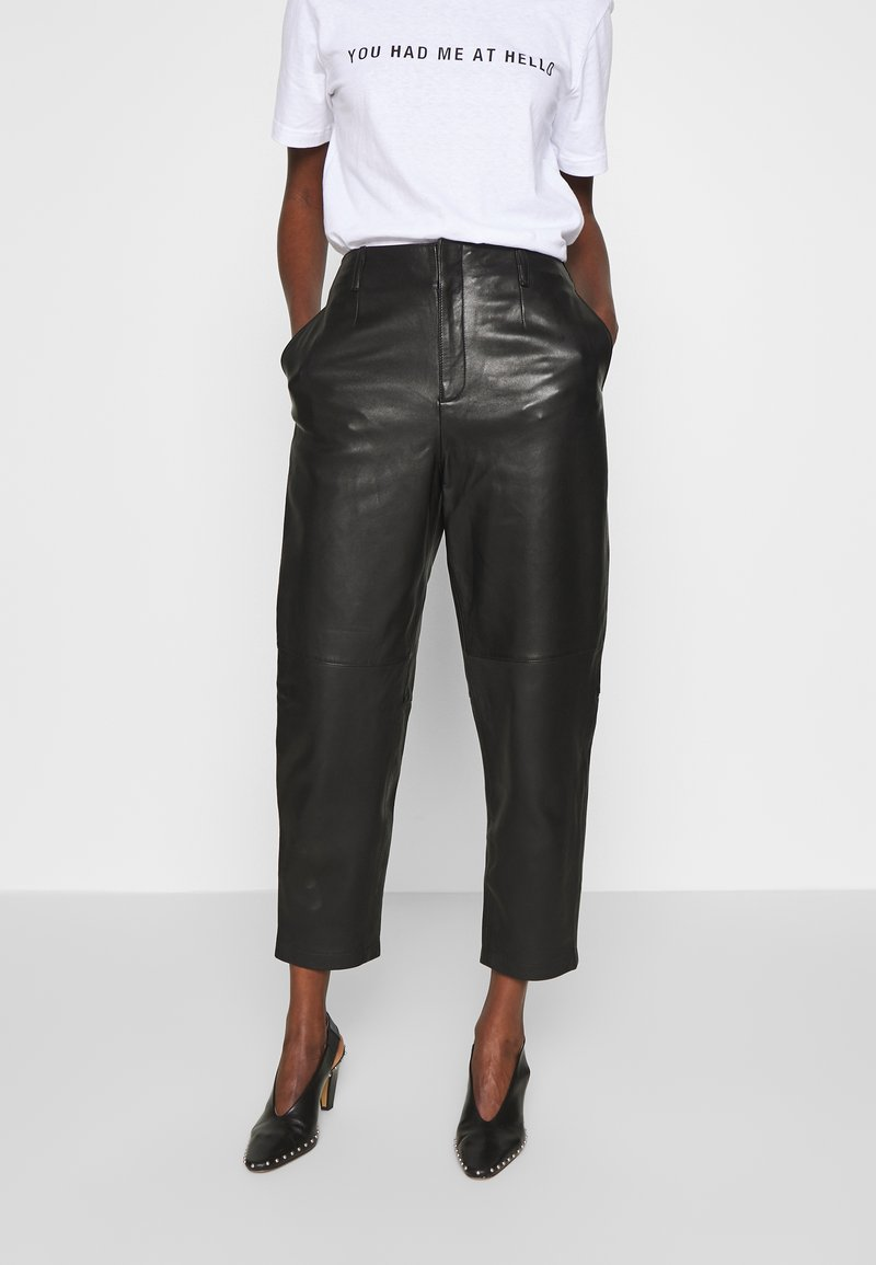 Filippa K - KARLIE TROUSER - Leather trousers - black