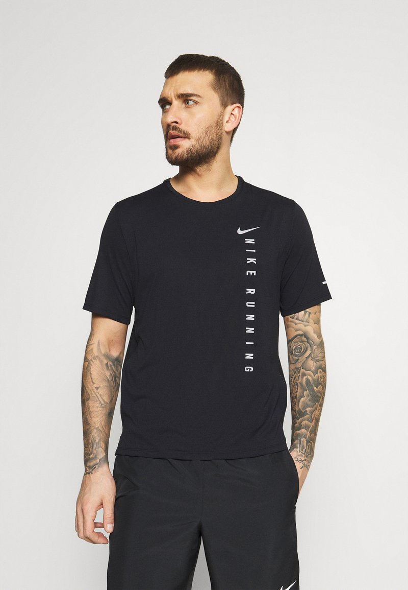 Nike Performance - MILER HYBRID - Print T-shirt - black/silver